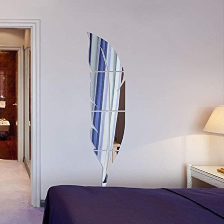 Arredare specchio adesivo moderno a forma di piuma ilmercatinoonline it arredamento per la casa - Il budda nello specchio pdf gratis ...