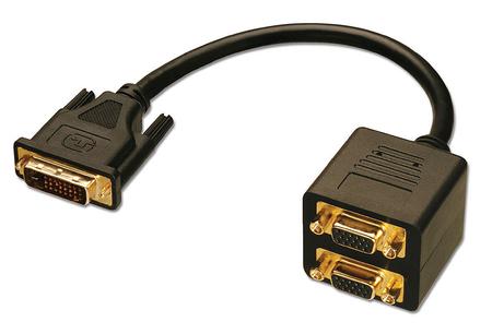 Cavo Splitter DVI-I M / 2 x VGA F Passivo