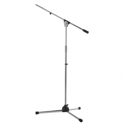 Asta microfonica con braccio su base nylon, verniciatura grigio cromato