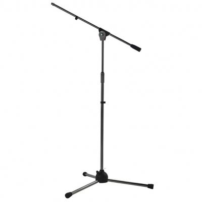 Asta microfonica con braccio su base nylon, verniciatura nera