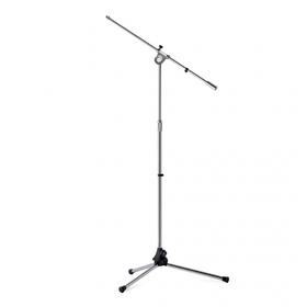 Asta microfonica con braccio su base in acciao, verniciatura grigio cromato