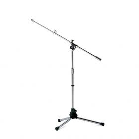 Asta microfonica mini con braccio, verniciatura grigio cromato
