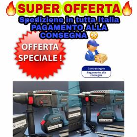 PRODOTTO FANTASTICO  TASSELLATORE BRUSCHLESS SCARPELLATORE A BATTERIA LITIO 88v. A solo 115 pi 12 euro di spedizione.    Spedizione in tutta Italia.  Pagamento in contrassegno.                  SPECIFICHE TECNICHE                MOTORE BRUSCHLESS  #TASSELLATORE  *attacco sds plus * Tensione della batteria: 88v * Capacit della batteria: 6,0 Ah * Durata della ricarica: 1h * Numero di giri a vuoto (marcia 1): 0 - 900 min-1 * Frequenza di impatto (marcia 1): 0 - 5.000 min-1 * Forza d'impatto (joule): 1 * Livello di potenza acustica dB(A): 82,38 * Valore di emissione oscillazioni nel cemento ah=in (m/s): 6,314 * Incertezza di perforazione su calcestruzzo K (m/s): 1,5 * Tensione di rete del caricatore: 230V/50Hz * Dimensioni L x P x H (mm): 84 x 238 x 250 * Peso (kg): 3,5                      IN DOTAZIONE  1- tassellatore scarpellatore  2- batterie ricaricabili da 6Ah 1- carica batterie  1- punta demolitore sds plus  1- scarpello sds plus 1- comoda valigetta