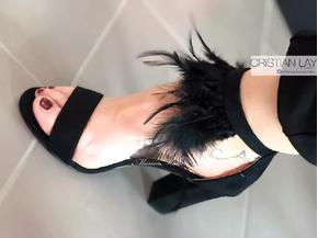 Sandali con frange neri