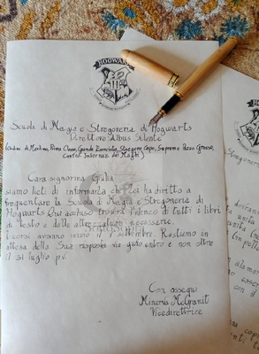 Lettera di ammissione a Hogwarts personalizzata